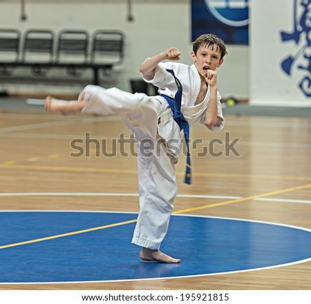 RAMENSKOYE, RUSSIA - MAY 31 , 2014: Qualifying competition karatekas for the assignment of Kyokushinkai karate belts in Ramenskoye, Moscow region, Russia.