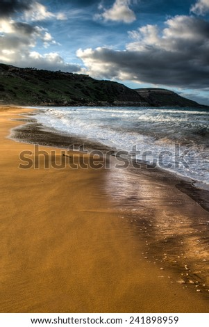 Ramla Bay in Gozo, Malta on a winter day