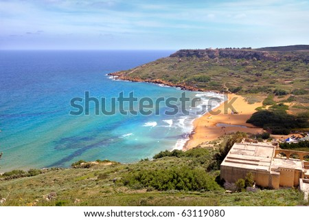 Ramla Bay on a sunny day, Gozo island, Malta - stock photo