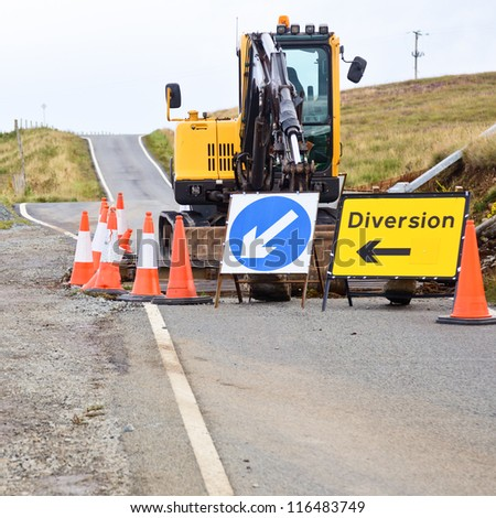 Ramp reconstruction on a road at Scotland - stock photo