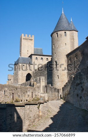 Rampart of the medieval town of Carcassonne, France - stock photo