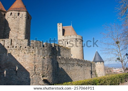 Rampart of the medieval town of Carcassonne in France - stock photo