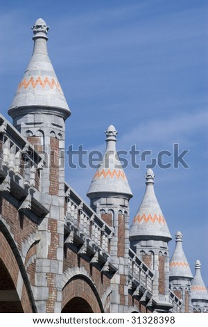 Ramparts along the train line to the central station in Antwerp, Belgium - stock photo