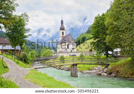 Ramsau village and church in Alps of Bavaria, Germany