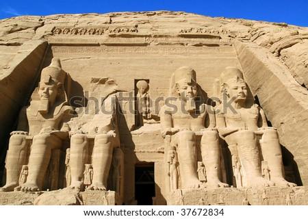 Ramses statue Abu Simbel ancient Egypt - stock photo