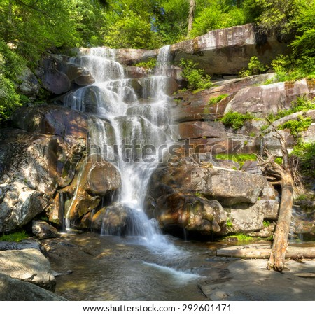 Ramsey Cascades are one of the most beautiful and at 105 feet highest  falls in the Smokies. - stock photo
