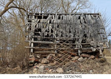 Ramshackle barn closeup - stock photo