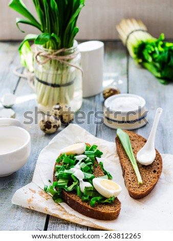 Ramson with rye bread and sour cream with salt, on a gray board, spring