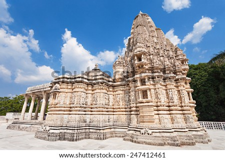 Ranakpur Temple is a jain temple in Rajasthan, India - stock photo