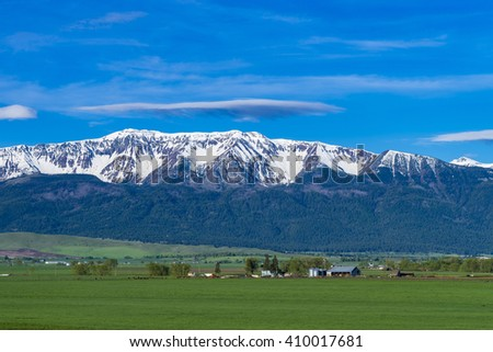 Ranch land near the Wallowa Mountains in Oregon - stock photo