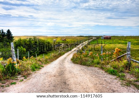 Ranch overlooking the Gulf of St. Lawrence - stock photo