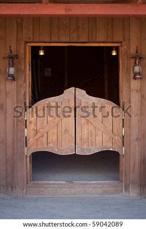 ranch style, wild west concept. Wooden ranch house - stock photo