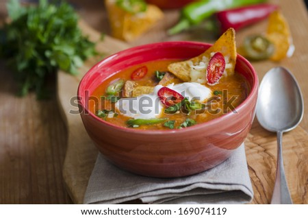 Ranchero chicken, spicy Mexican soup - stock photo