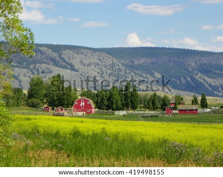 Ranching farm nature scenic - stock photo