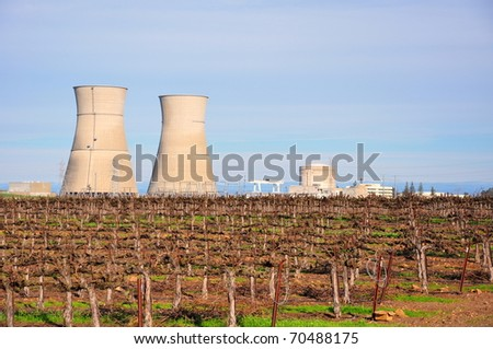 Rancho Seco nuclear power plant cooling towers - stock photo