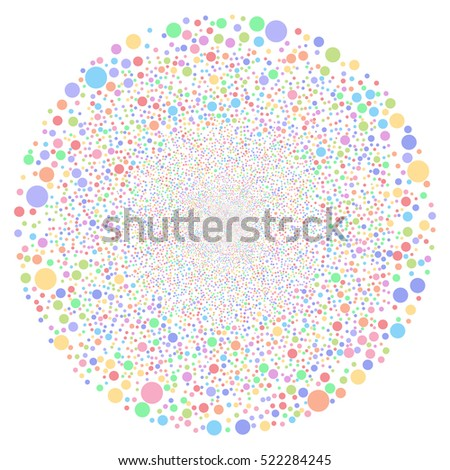 Random Bubble Sphere raster image. Style is bright multicolored flat circles, white background.