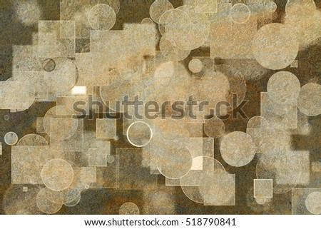 Random circle, square & rectangle shape, digital generative art for design texture & background, grunge & rough