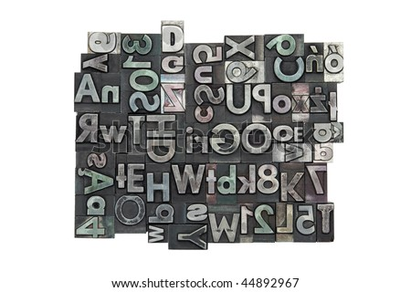 Random letterpress background with clipping path - stock photo