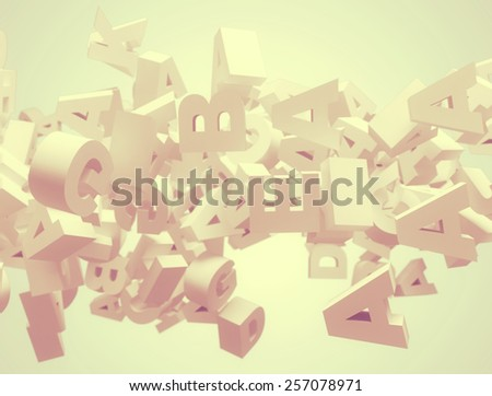 Random letters flying. High resolution 3d render  - stock photo