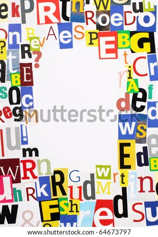 Random magazine letters cut out arranged stock photo royalty free random magazine letters cut out and arranged in a border around a white space for text spiritdancerdesigns Images