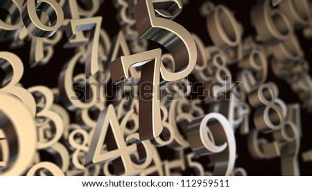 Random metallic 3d numbers background - stock photo
