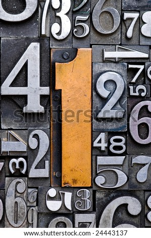 Random number background with number one in the center. - stock photo