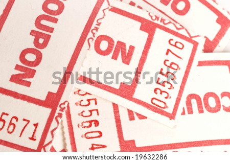 random pile of coupons or tickets - great for background