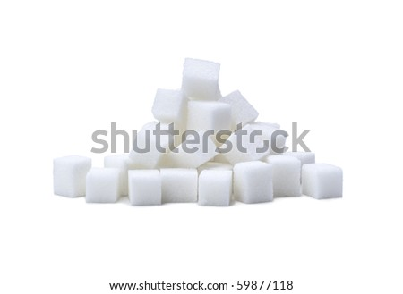random pile of sugar cubes on white - stock photo