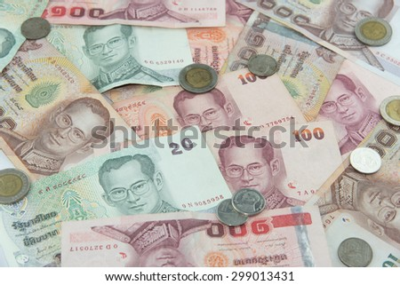 Random Thai Baht coins and banknotes as background