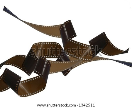 Randomly scattered curly strips of unused shiny brown 35mm film. Isolated on white, the horizontal composition has copy space.  - stock photo