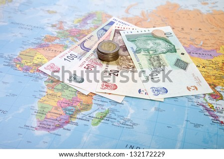 Rands notes and coins, South Africa - stock photo