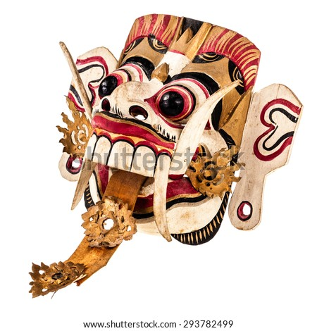 Rangda mask. Rangda is one of the most famous and most common topeng in Bali. Isolated over a white background - stock photo
