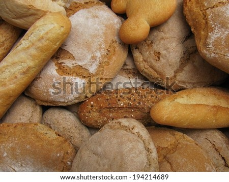 Range and types of breads. - stock photo