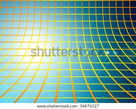 range and yellow mesh over  blue background