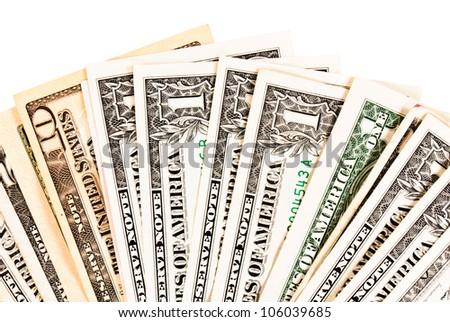Range of dollar isolated on white - stock photo