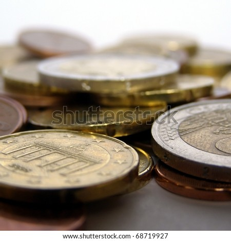 Range of Euro coins useful as a background