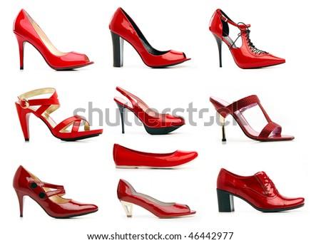 Range of female vanish red shoes. Isolated on white background - stock photo