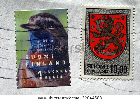 Range of Finnish postage stamps from Finland - stock photo