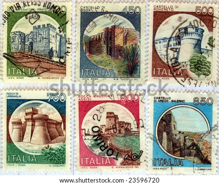 Range of Italian castles postage stamps (still in Liras) - stock photo