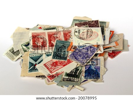 Range of Italian postage stamps - stock photo