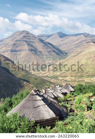 Range of traditional houses. Shot in Tsehlanyane Nature Reserve, Lesotho.