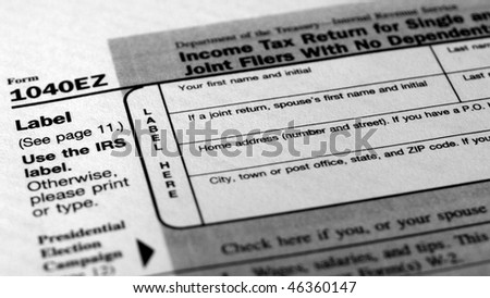 Range of various blank USA tax forms - (16:9 black and white)