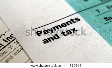 Range of various blank USA tax forms - (16:9 ratio) - stock photo