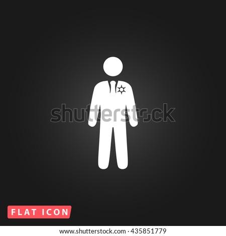 ranger White flat icon on dark background. Simple illustration pictogram - stock photo