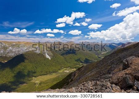 Ranges of Tasman Mountains in Kahurangi National Park, South Island, New Zealand - stock photo