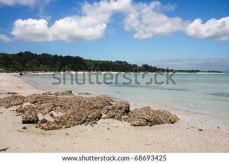 Rangiputa Beach on a beautiful sunny day, Northland, New Zealand - stock photo