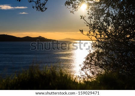 Rangitoto Island and Hauraki Gulf, Auckland, New Zealand - stock photo
