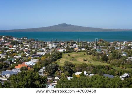 Rangitoto Island and the Hauraki Gulf, Auckland - stock photo