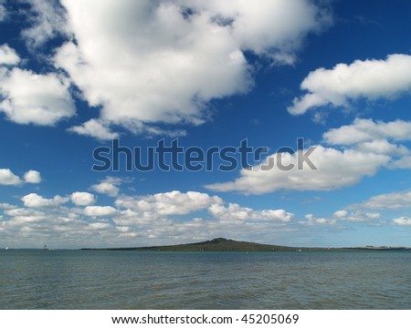 Rangitoto island view from Mission Bay, Auckland, New Zealand