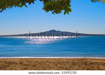 Rangitoto Island with view from the Mission Bay, Auckland, New Zealand - stock photo